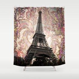 Floral Eiffel Tower in Paris, France Shower Curtain