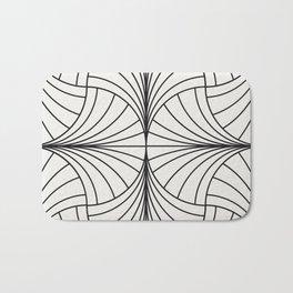 Diamond Series Inter Wave Charcoal on White Bath Mat
