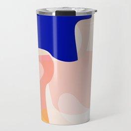 Modern Abstract Peach Pink Navy Blue Yellow Pattern Travel Mug