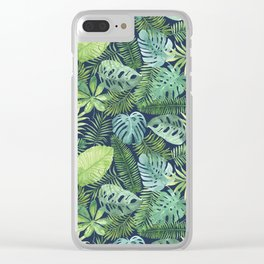 Tropical Branches on Dark Pattern 08 Clear iPhone Case