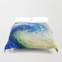 van gogh Duvet Covers featuring Wave to Van Gogh by Fringeman