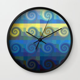 Abstract tiles and waves pattern Wall Clock