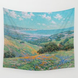 Malibu Coast, California with wild poppies floral seascape painting by Granville Redmond Wall Tapestry