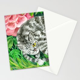 Cat under peonys Stationery Cards