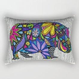 Whimsical Hippo Dancing on Words Rectangular Pillow