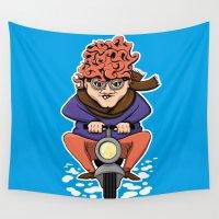 moto Wall Tapestries featuring Crazy Moto Grandma by Maryanski