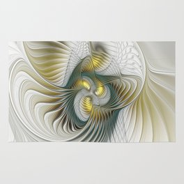 Noble And Golden, Abstract Modern Fractal Art Rug