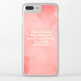 The most beautiful things... The Little Prince quote Clear iPhone Case