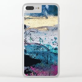 Twilight: a beautiful, abstract watercolor + mixed-media piece in blue, gold, purple, pink, + black Clear iPhone Case