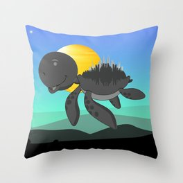 Blue Sky Flying Turtle Throw Pillow