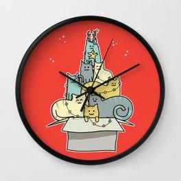 Cute Kawaii Cat Christmas Tree Wall Clock