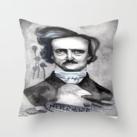 edgar allan poe Throw Pillows featuring Edgar Allan Poe by JsuauG