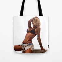 tina crespo Tote Bags featuring Tina by Nick Bizzack Designs