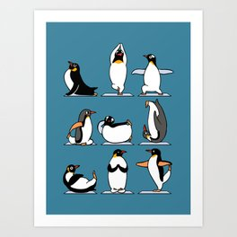 Penguin Yoga Art Print
