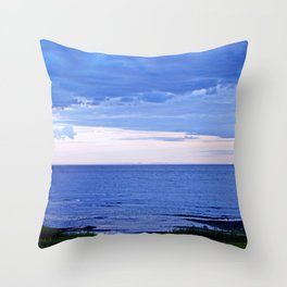 Blue on Blue at the River Mouth Throw Pillow