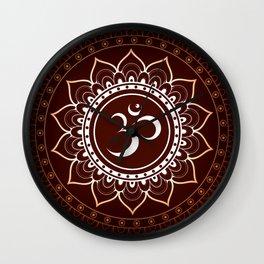 Brown Om Mandala Wall Clock