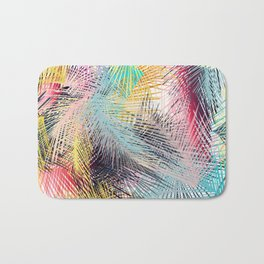 Jungle pampa colorful forest. Tropical fresh forest pattern with palms Bath Mat