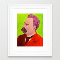 nietzsche Framed Art Prints featuring Colorful Nietzsche by TheMessianicManic