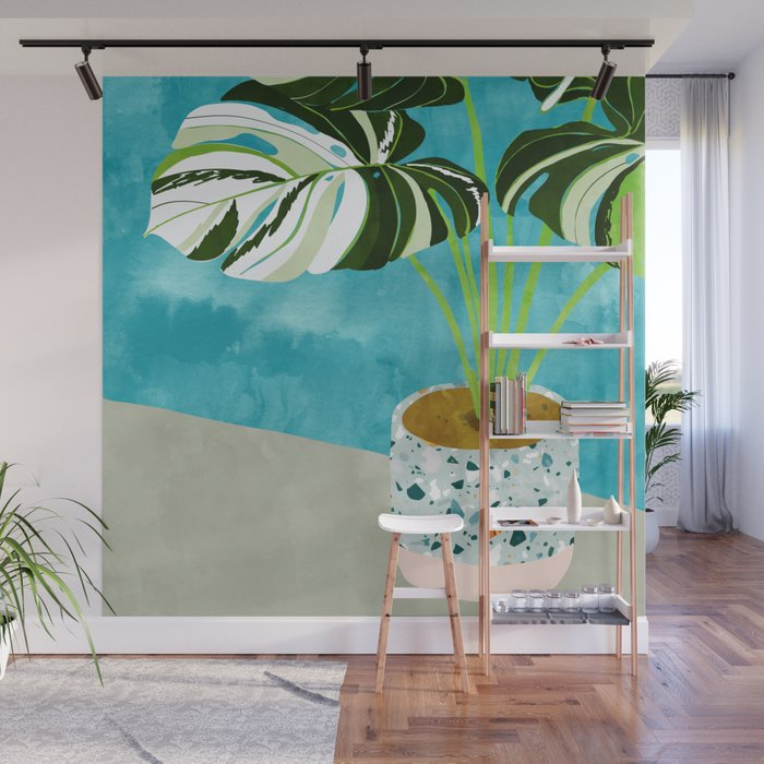 Variegated Monstera Tropical Painting Nature Wall Mural By 83oranges