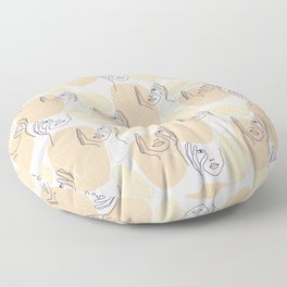 One line drawn faces Floor Pillow