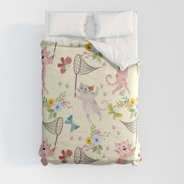 Cute Cat catching butterflies with flowers pattern Comforters