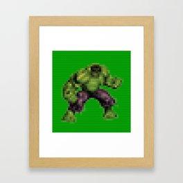 Green monster - Toy Building Bricks Framed Art Print