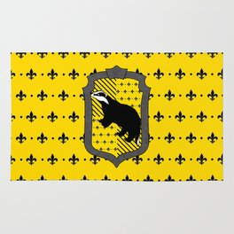 Hufflepuff house crest Fleur de Lis background Rug