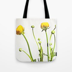 Golden Yellow Ranunculus Flowers on White Tote Bag