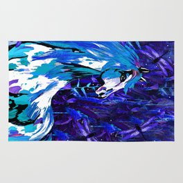 HORSE INDIGO BLUE AND DRAGONFLY NIGHTS Rug