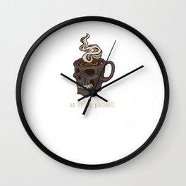 Black Coffee Lovers Morning Haters Caffeine Junkie Fan Design Wall Clock