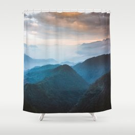 Blue Turquoise Mountains With Orange Sunset Sky Landscape Shower Curtain