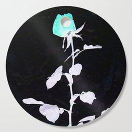 Single Rose aqua black and white Abstract design Cutting Board
