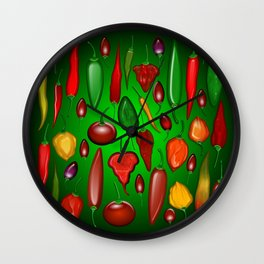 Chili Peppers Hot And Spicy Wall Clock