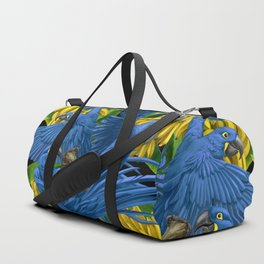 Hyacinth Macaws and bananas Stravaganza (black background). Duffle Bag