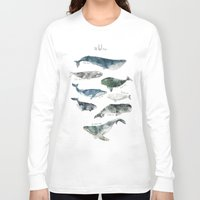 illustration Long Sleeve T-shirts featuring Whales by Amy Hamilton