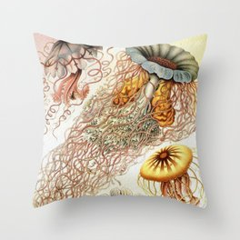 SEA CREATURES COLLAGE-Ernst Haeckel Throw Pillow