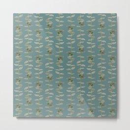 Eucalyptus Patterns with Aqua Background Realistic Botanic Patterns Organic & Striped Patterns Metal Print