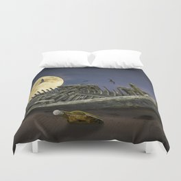 Moon and Wooden Shipwreck with Gulls Duvet Cover