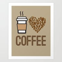 "Coffee Lovers Collection-""I Love Coffee"" (Dark Brown/Taupe) Art Print"