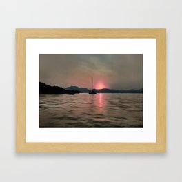 Sunset Shores In Pink And Grey Framed Art Print