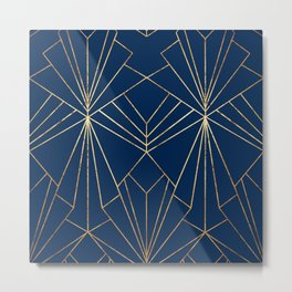 Navy & Gold Art Deco - Large Scale Metal Print