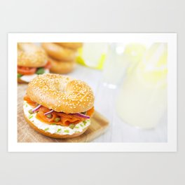 Bagel with salmon and cream cheese, brightly lit Art Print