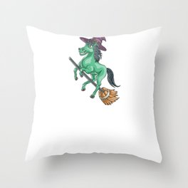 Witch Horse, It's Show Time Funny Halloween Horror Scary Throw Pillow