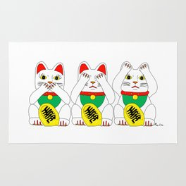 Three Wise Lucky Cats Rug