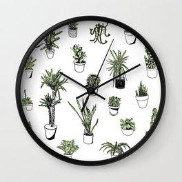 Plant Wall Succulent Pattern Wall Clock