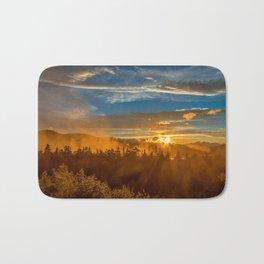 Misty Gold Mountain Sunset Bath Mat
