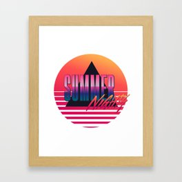 Summer Nights - Retrowave Framed Art Print