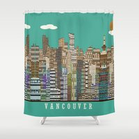 vancouver Shower Curtains featuring Vancouver skyline by bri.buckley