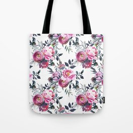 Sophisticated Pink and Gray Floral bouquets on White  Tote Bag