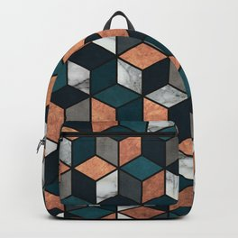 Copper, Marble and Concrete Cubes with Blue Backpack